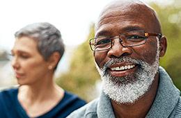 Photo of senior couple wearing nice glasses