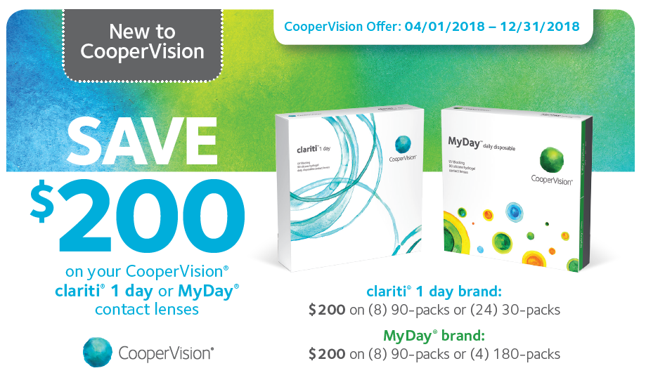 New to CooperVision: Offer runs from 4/1/2018 - 12/31/2018: Save $200 on your CooperVision clariti 1 day or MyDay contact lenses. clariti deal is $200 on (8) 90-packs or (24) 30-packs. MyDay deal is $200 on (8) 90-packs or (4) 180-packs.