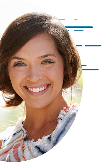 Photo of happy woman wearing contacts