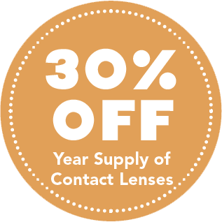 30% off year supply of contact lenses