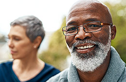 Photo of senior couple wearing nice glasses