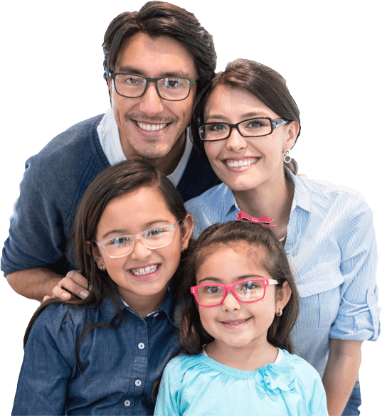 smiling family wearing prescription glasses