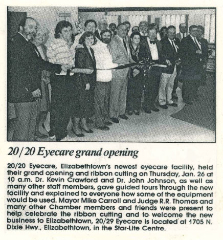 Newspaper clipping of Elizabethtown Grand Opening