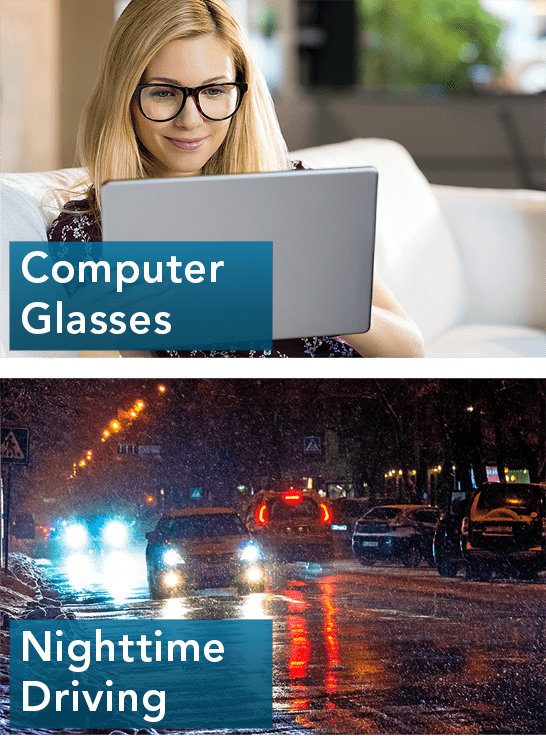 glasses for computer use and nighttime driving